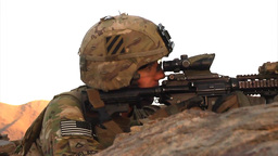U.S. infantry soldier looking through sights of his rifle Footage