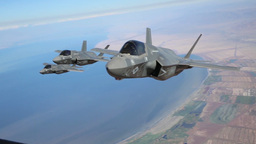 KC-130J Refuels F-35B Lightning II Joint Strike Fighters In Mid-air stock footage