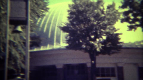 1972: Mormon tabernacle church exterior and inside organ and stadium pews. SALT  Footage