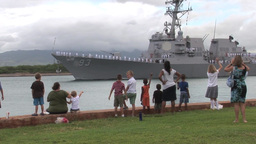 Family waves goodbye as USS Chung Hoon departs Joint Base Pearl Harbor-Hickam Footage