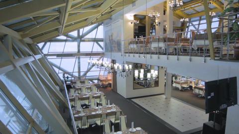 Hi-tech Restaurant Inside Bridge in Russia Footage