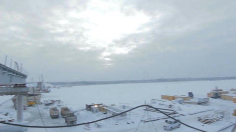 View from Bridge Construction on Arctic Landscape Footage