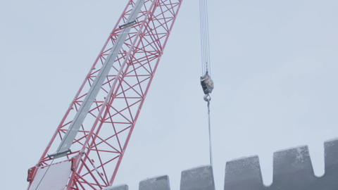 Crane Jib in Winter in Sky Background Footage