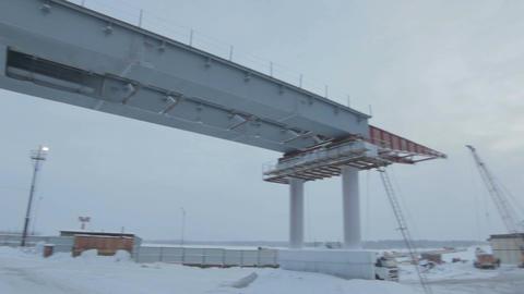 Ferroconcrete Bridge Span in Northern Russia Footage