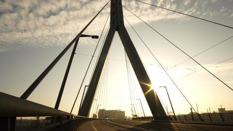 Berliner Street Bridge in Halle Germany Silhouette Timelapse GIF