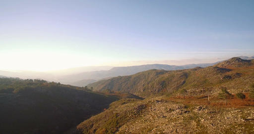 Aerial, Flying In The Mountainous Landscape Of Parque Nacional Peneda-Geres, Por Footage