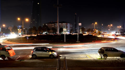 4K Timelapse Vehicles Turning Night in Traffic Footage