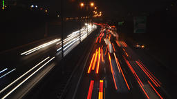 4K Timelapse night city highway traffic Footage