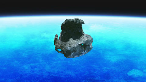 Meteorite stone rotation earth Animation