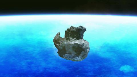 Meteorite stone rotation sky Animation
