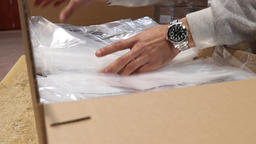 Packaging plastic bags for shipment Footage