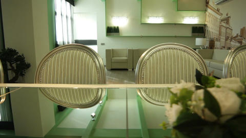 Dinner Table and Chairs in Modern Interior Footage