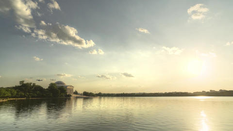 Sunset Behind Jefferson Memorial - HDR Timelapse 2 Footage