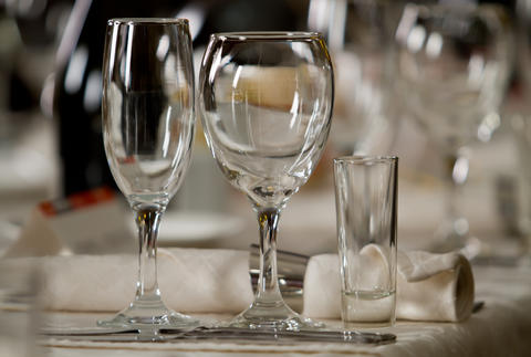 Fine Crystal Table Setting at a Restaurant Photo