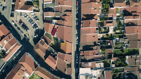 Aerial View Red Tiled Roofs City Footage