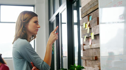 Business executive looking at sticky notes Live Action