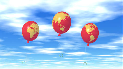 Balloon global map Stock Video Footage