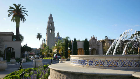Time lapse video of fountain in Balboa Park in San Diego in 4K Footage