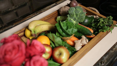 Top view of fresh fruits and vegetable in tray Footage