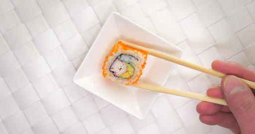 Pick crab sushi maki roll small plate Footage