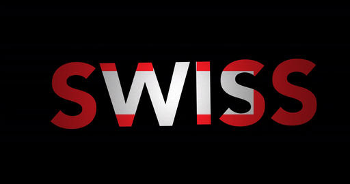 Zooming text Swiss with flag Animation