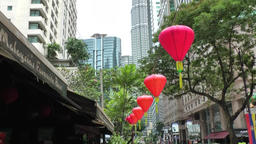 Malaysia Kuala Lumpur 038 red lampions along a footpath in downtown Footage