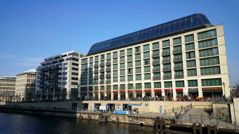 DDR museum at the Spree in sunny Berlin Footage