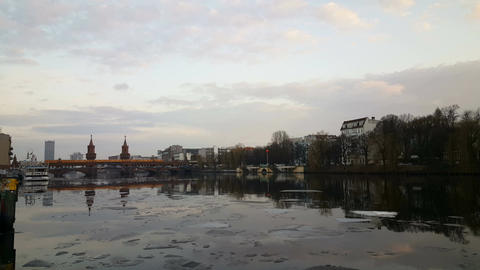 Sunset at the Spree river in Berlin, Oberbaum Bridge Footage