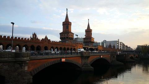 Sunset at the Oberbaum Bridge, Berlin Footage