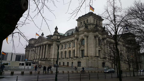Reichstag building seen from behind tree Footage