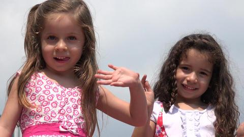 Children Waving Cute Girls Footage