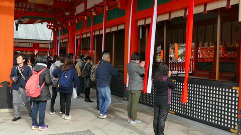 People Praying At Fushimi Inari Shrine In Kyoto Japan Asia Footage