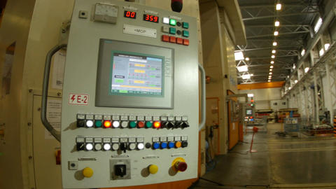 Control Panel with Colored Buttons in Factory Workshop Footage