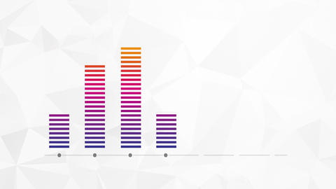 increasing color bar graph on paper background Animation