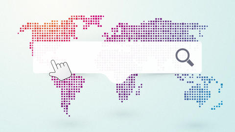 job search worldwide with a map on the background endless loop Animation