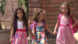 Little Girls Kids Walking Friends Live Action