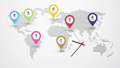 map of world time zones and clock Animation
