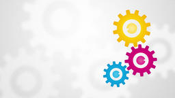 color rotating gears with frosted glass on the background Animation
