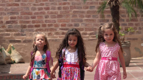 Young Girls Walking Friendship Live Action
