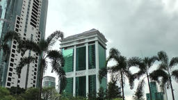 Malaysia Kuala Lumpur 041downtown buildings and palm trees against sky Footage