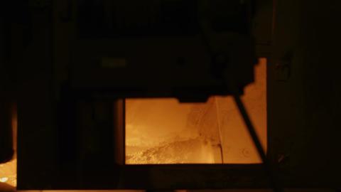 Closeup Inside View of Glass Melt Furnace Footage