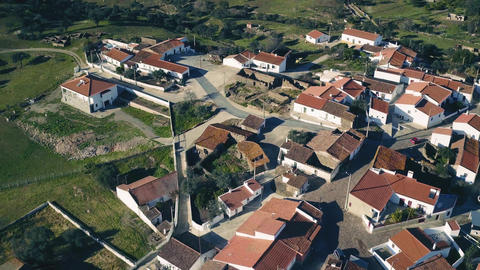 Aerial View Red Tiled Roofs Typical Village Footage