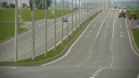 Car Moves along Empty Highway Footage