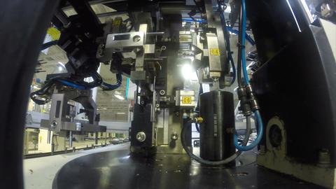 Closeup Automatic Robotic Assembly Machine Footage