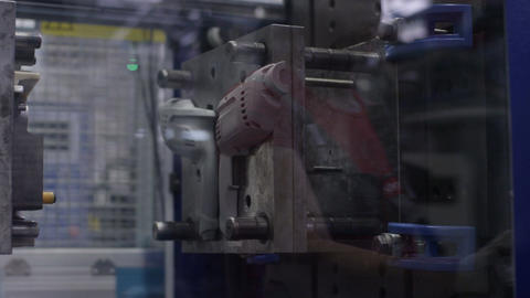 Closeup Modern Drills Produce Machine Footage