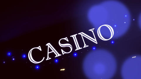 1080p Blue Casino Sign With Flashing Lights at Entrance to Casino Glows in The Footage