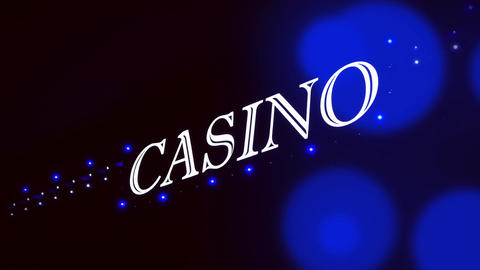 4K Blue Casino Sign With Flashing Lights at Entrance to Casino Glows in The Footage
