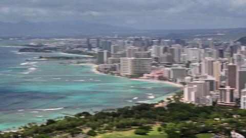 Aerial view of Honolulu and Waikiki beach from Diamond Head, Hawaii Footage