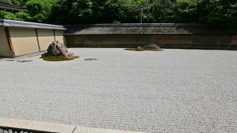 Zen Rock Garden in Ryoan-ji Temple, Kyoto, Japan Footage