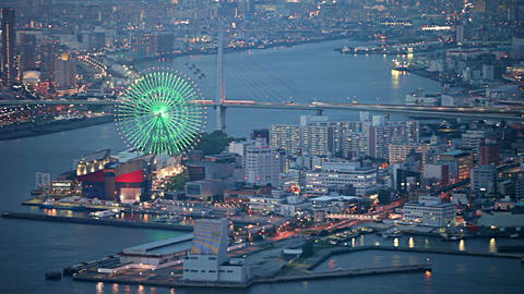 Aerial view of Osaka city in twilight, Japan Archivo
